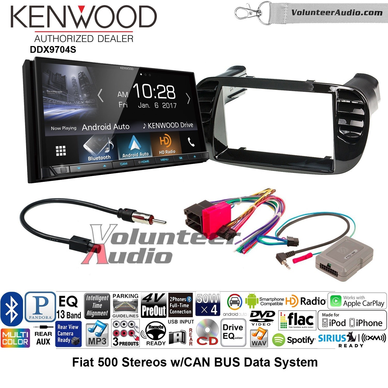 ボランティアオーディオKenwood ddx9704sダブルDINラジオインストールキットwith Apple CarPlay Android自動Fits 2012 – 2015 Fiat 500 (ブラック) B07BZR7BYT