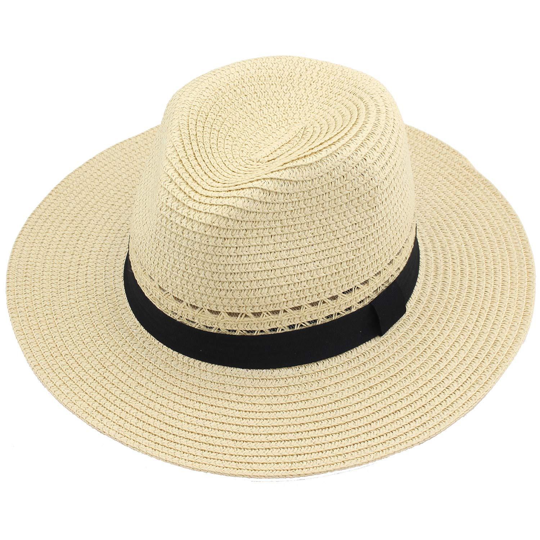 YUUVE Womens Panama Hat Wide Brim Straw Fedora Openwork Beach Sun Hat UPF 50+ Light Beige