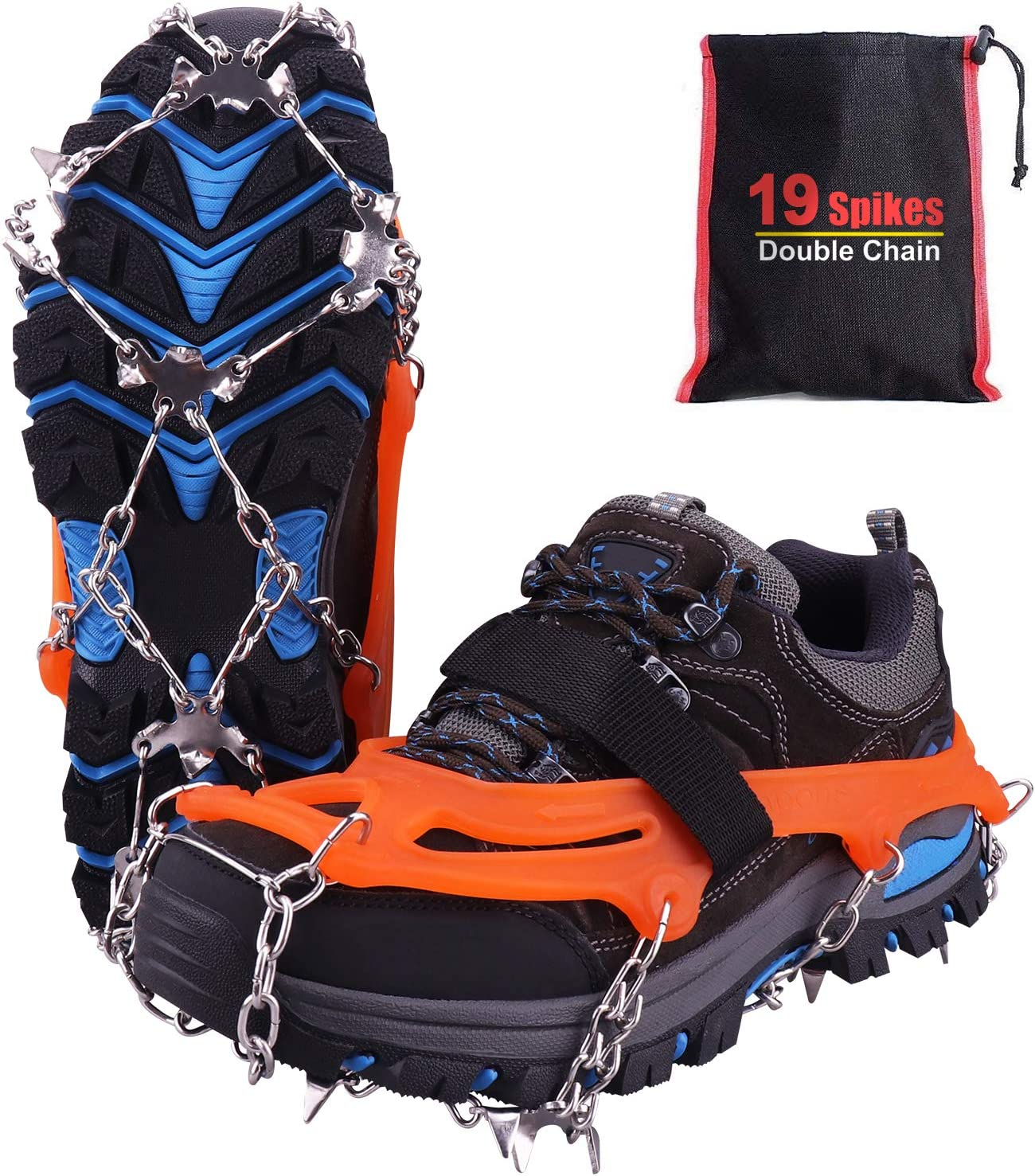 Crampon pour Chaussure, 19 Dents Crampons de Glace Universelles Glace Traction Antidérapant Grips Crampons pour Chaussures pour Alpinisme Marche