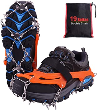 Rakaraka Crampones Nieve Hielo, 19 Dientes Tacos de tracción Nieve y Hielo Tracción para Invierno Deportes Montañismo Escalada Caminar Alpinismo ...