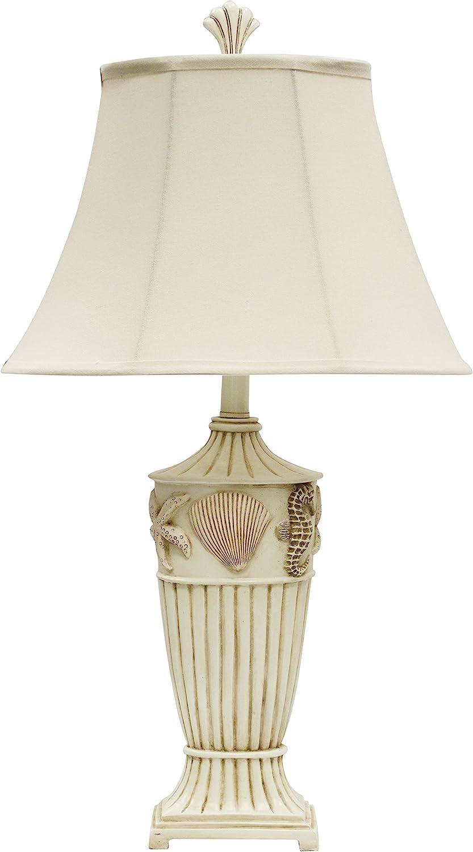 Collective Design 720354120956 Nautical Coastal Starfish, Seahorse, and Seashell Table Lamp, Cream