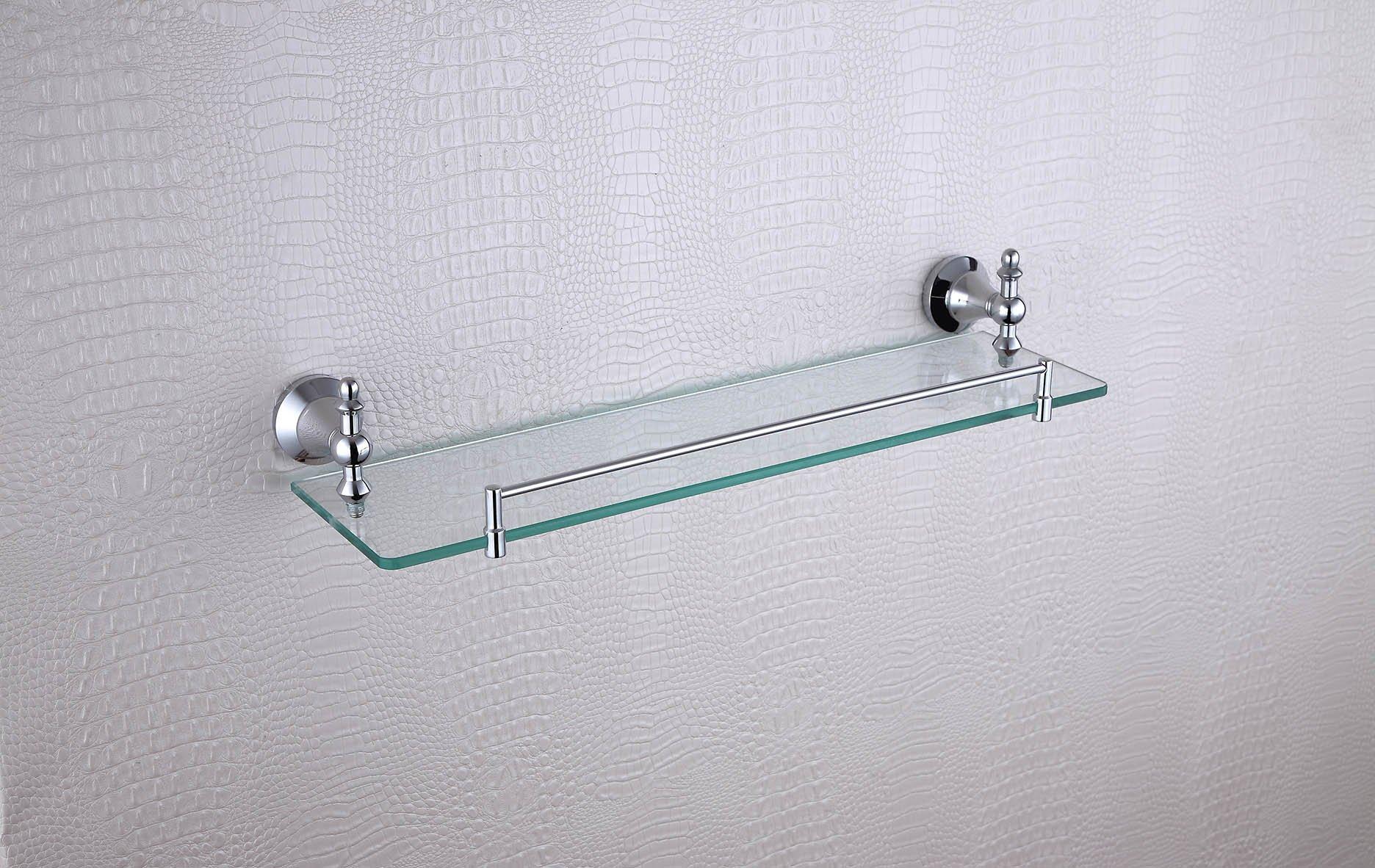 Cloud Power Bathroom Brass Single Glass Shelves With Chrome