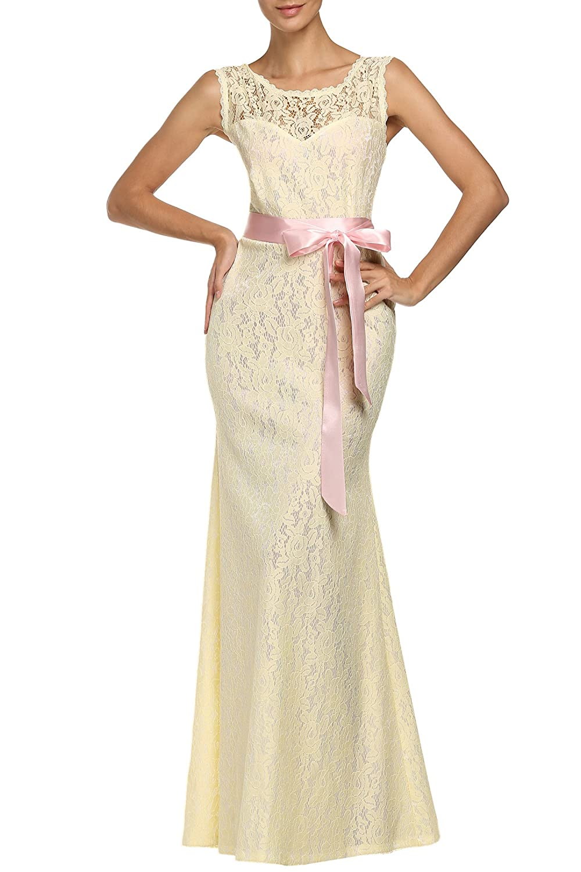 ANGVNS Women Elegant Halter Lace Wedding Bridesmaid Maxi Formal Dress