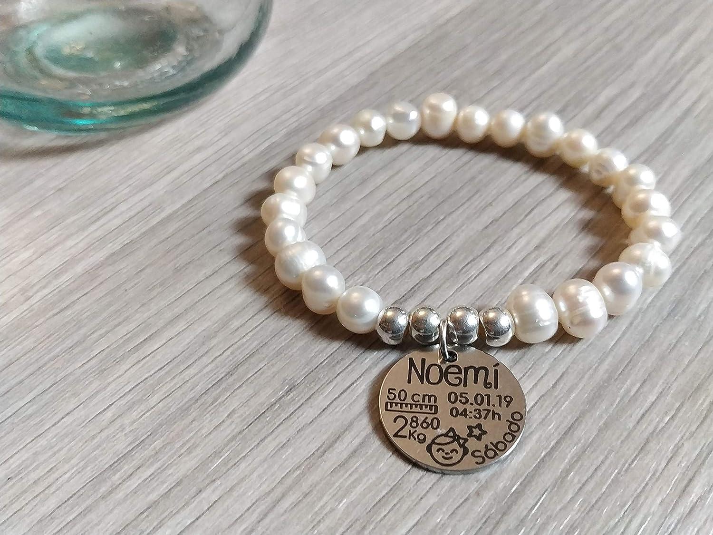 Pulsera Natalicio personalizada perlas naturales y plata: Amazon ...