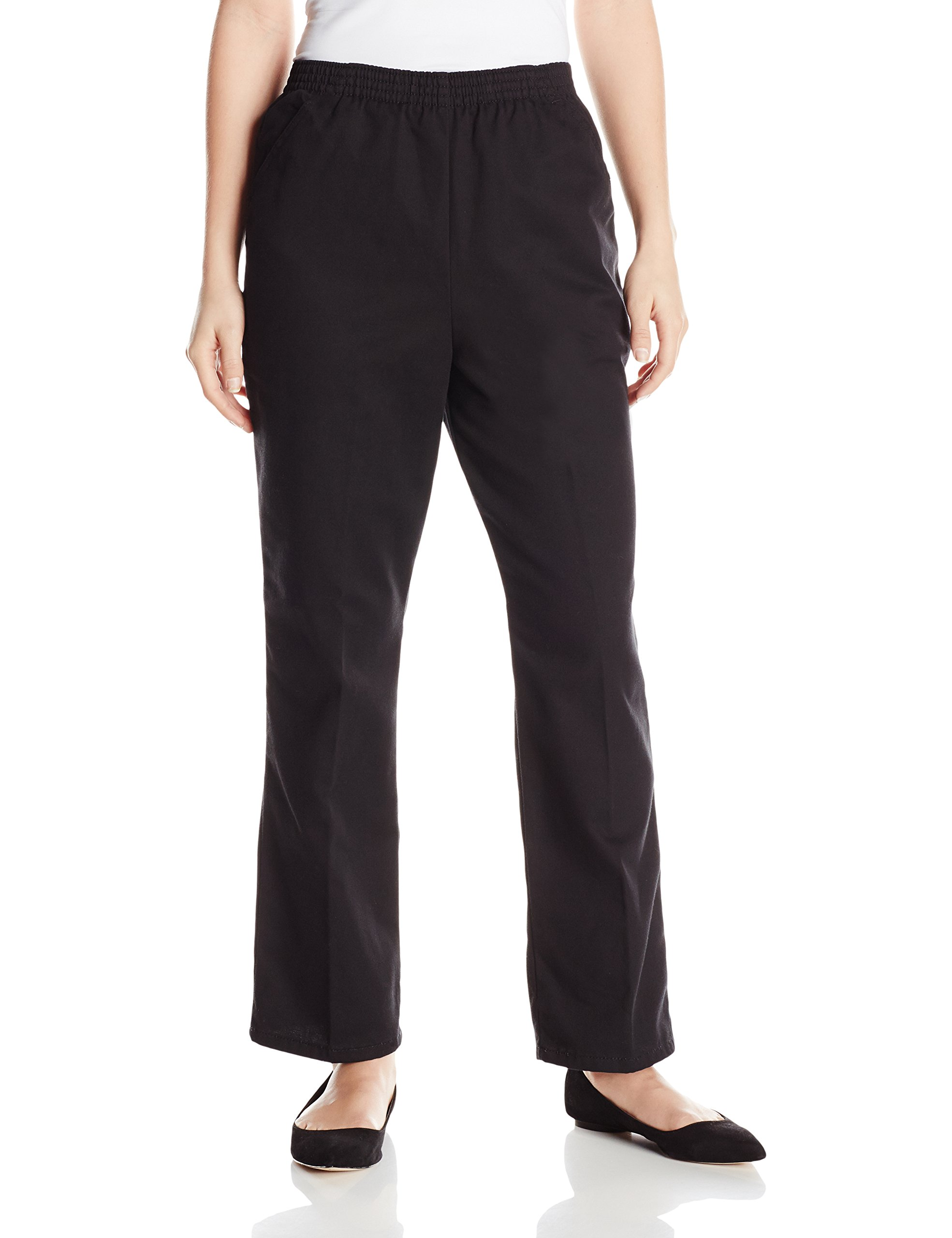 Chic Classic Collection Women's Petite Cotton Pull-On Pant with Elastic Waist, Black Twill 14P