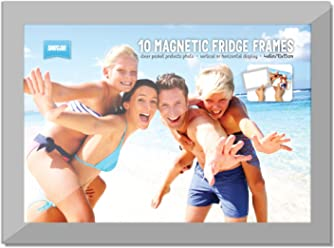 PACK OF 10 Shot2go magnetic photo fridge frame pockets silver border 4x6""