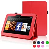 ACdream Kindle Fire HD 7 (2012 Version) Case, Amazon Kindle Fire HD7 (2012 Previous Model) Case - PU Leather Cover Case for Kindle Fire HD 7(2012 Version) with Auto Sleep Wake Function, Red