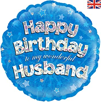 Happy Birthday Husband Blue Holographic Foil Balloon 45cm 18 By Oaktree UK