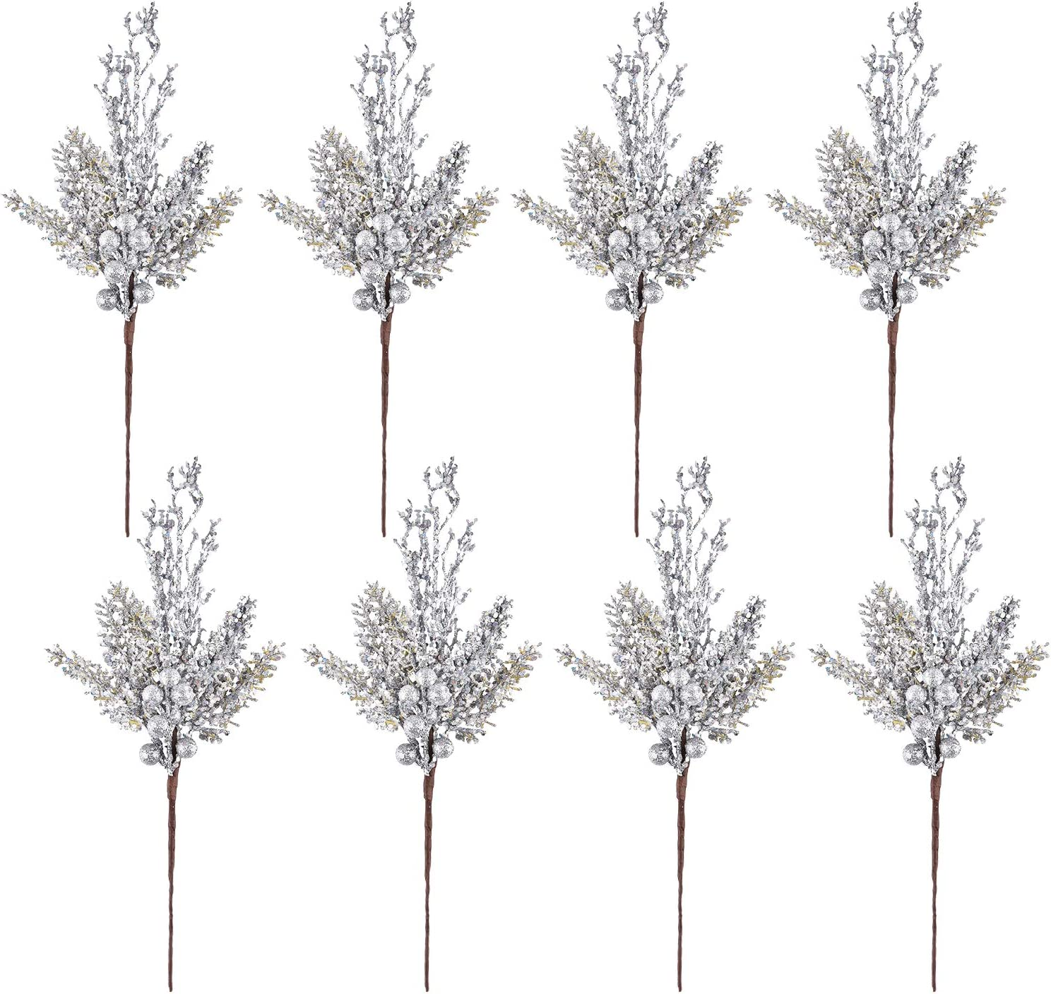 Dolicer 8PCS Xmas Glittery Silver Artificial Berry Picks with Frost Feeling for Home Decor Indoor Outdoor Party Holiday Decorations