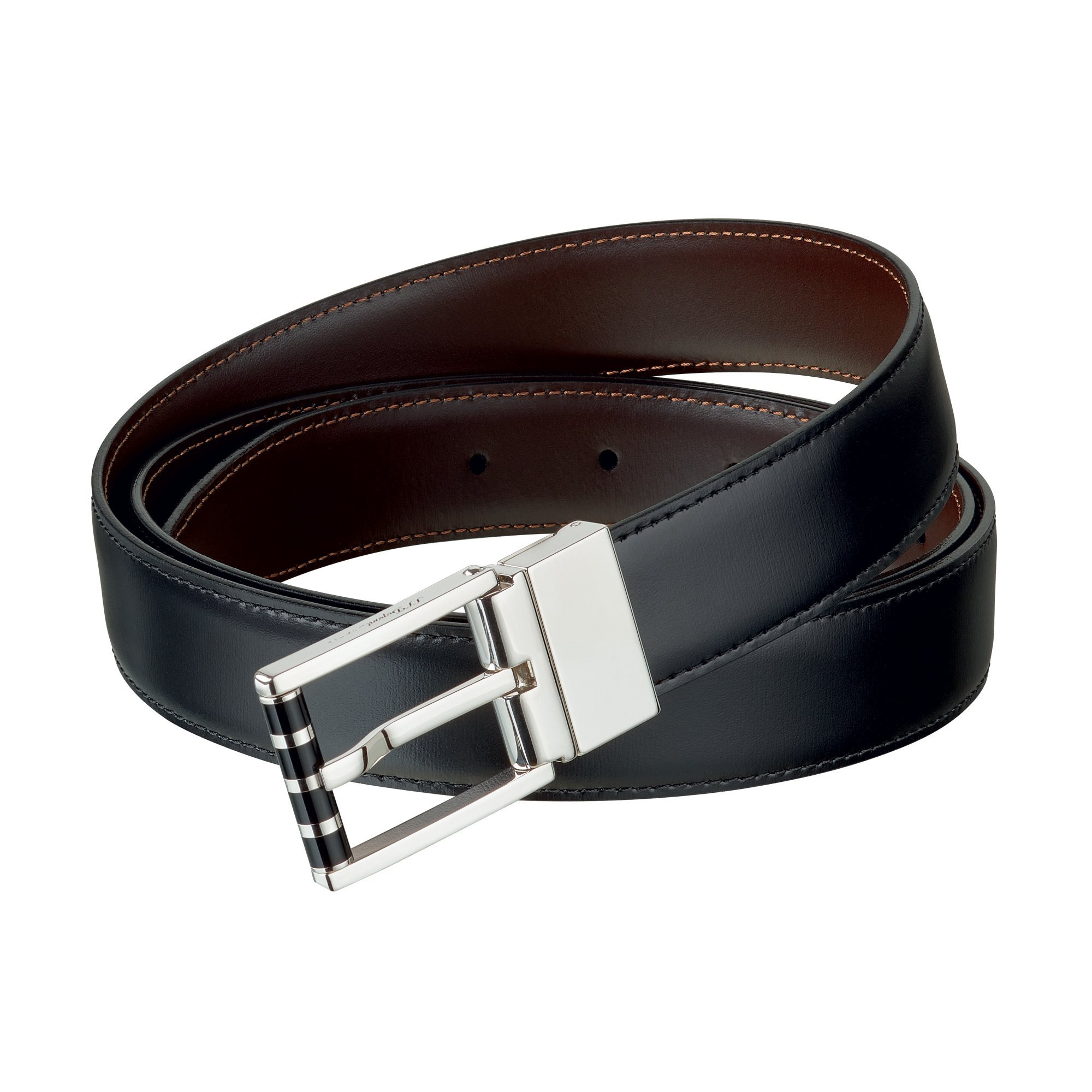 S.T. Dupont 9520120 Palladium Reversible Buckle Black/Brown Business Belt