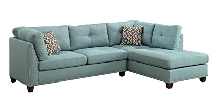 Acme Furniture 54395 Larissa Sectional Sofa with Ottoman Light Teal Linen