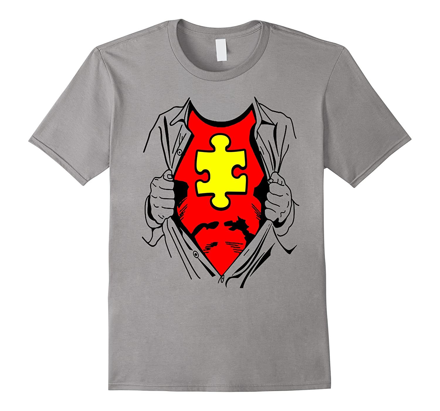 Super Hero Autism Superhero Man Jigsaw Puzzle Funny T-Shirt-TD