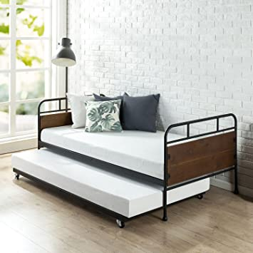 Zinus Eli Twin Daybed and Trundle Frame Set / Premium Steel Slat Support / Daybed and Roll out Trundle / Accommodates Twin Size Mattresses Sold ...