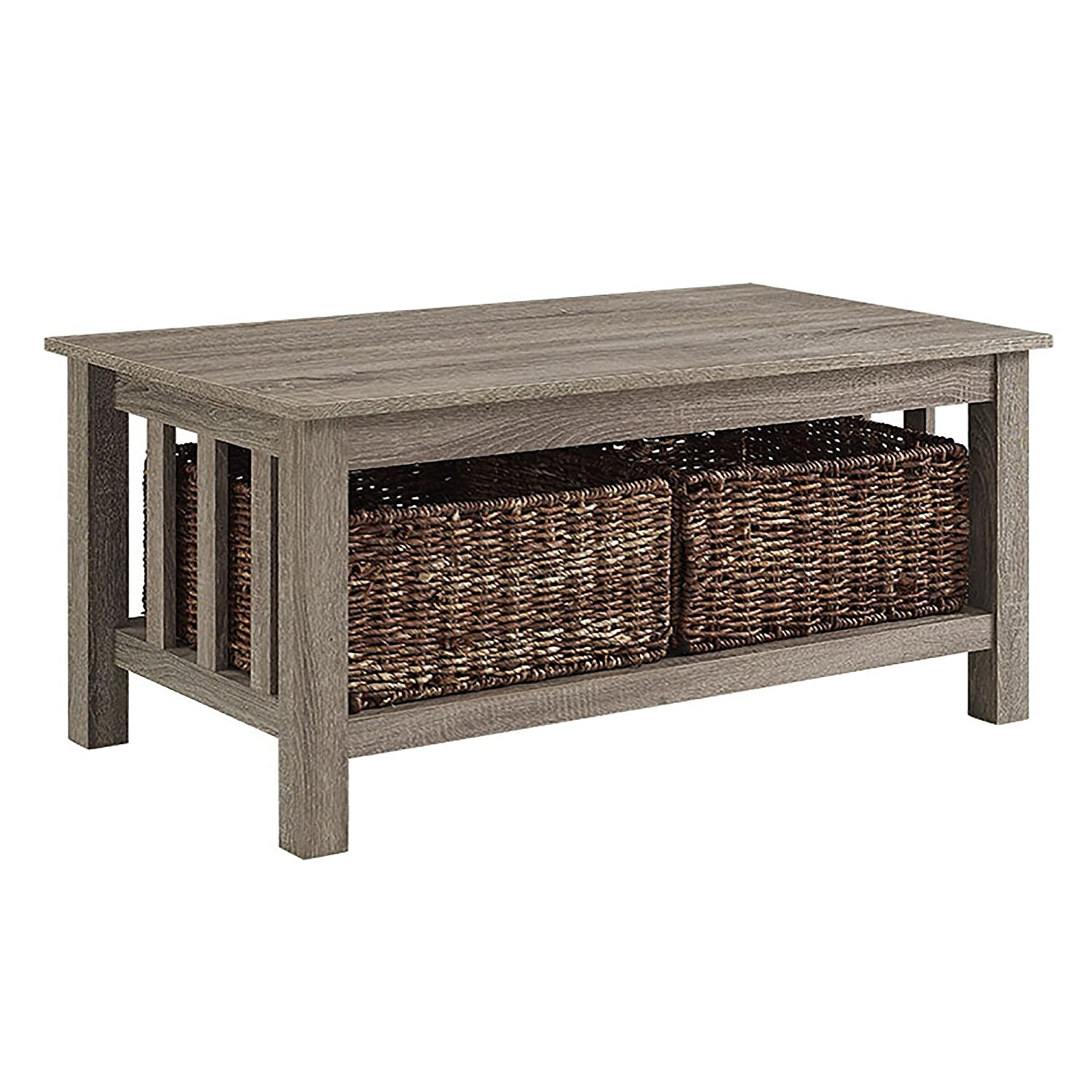 "Amazon WE Furniture 40"" Wood Storage Coffee Table with Totes"