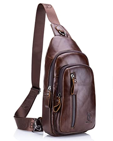 BULLCAPTAIN Genuine Leather Men Bag Shoulder Bags Backpack Outdoor Casual Crossbody Bag
