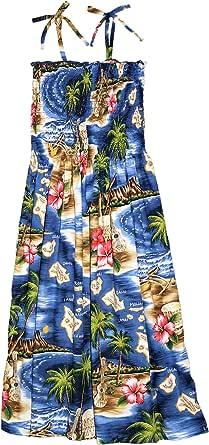 RJC Women S - XL Hibiscus Hawaiian Island Elastic Tube Top Sundress
