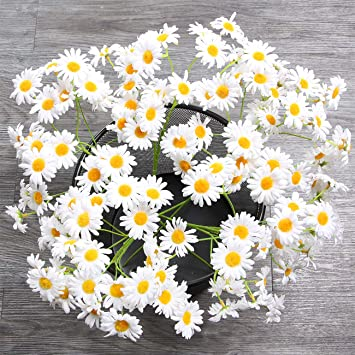 amazon white amyhomie artificial flowers silk daisy