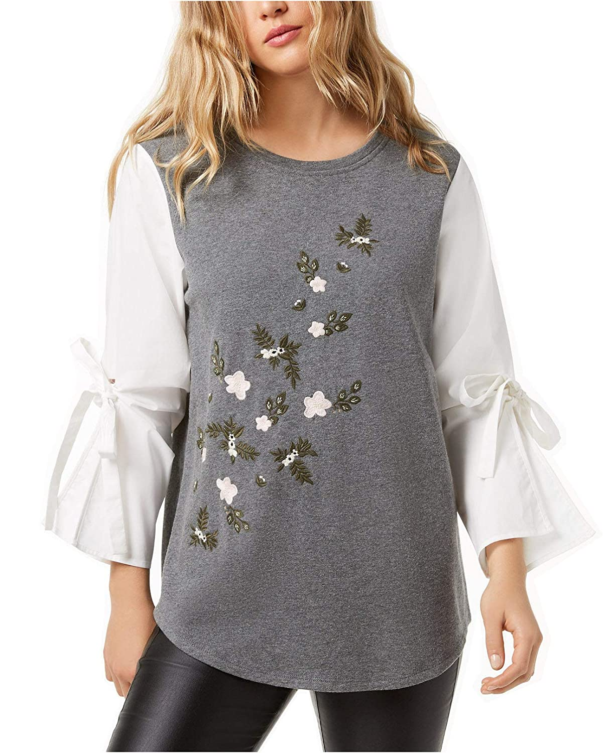 kensie Womens Bell-Sleeve Embroidered Sweater