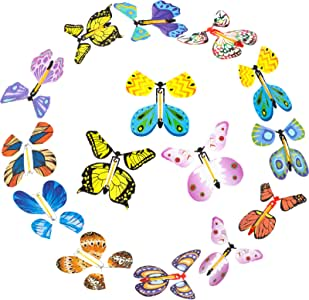 24 Pieces Magic Flying Butterfly Rubber Band Powered Funny Wind Up Butterfly in The Book Fairy Toy Classic Novelty Gag Toy Close Up Magic Set Great Surprise Wedding Birthday Gift