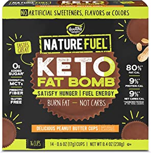 Nature Fuel Keto Fat Bomb, Non-GMO, Gluten Free with Coconut Oil MCTs, Peanut Butter Cup, 14 Count