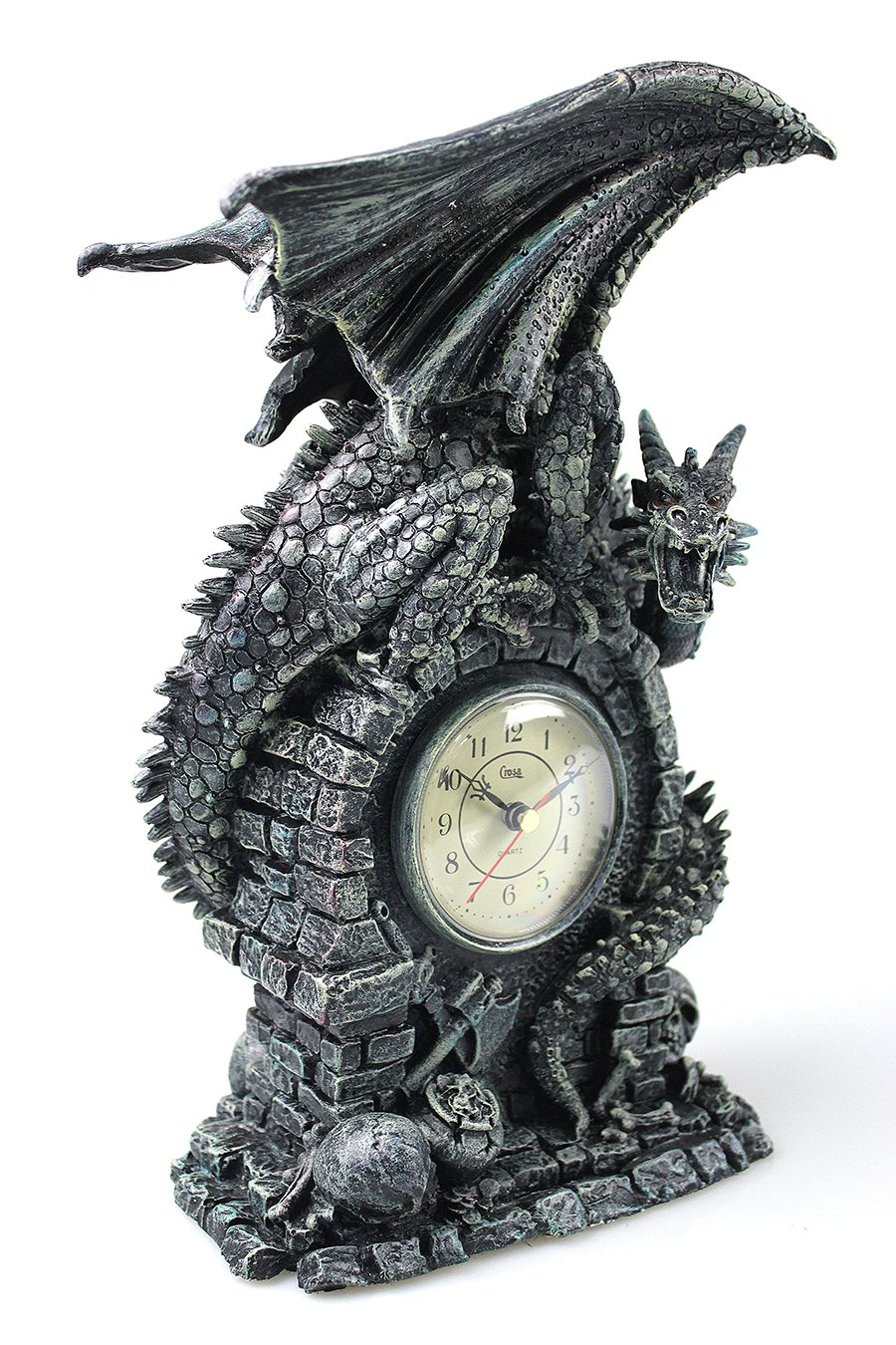 13'' Decorative Gothic Dragons Sculpture Table Clock, Heavy Duty Antiqued Medieval Winged Dragon Statue Art Home Decor