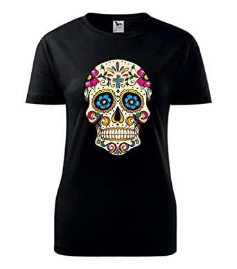 3a77359739203b Colour Fashion Sugar Skull print T shirt at Amazon Women s Clothing ...