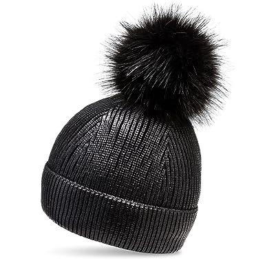 5e71b1ed6f0 CASPAR MU192 Women Lined Bobble Hat Metallic Winter Hat with XL Faux Fur  Pom Pom. Roll over ...