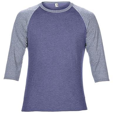 Anvil - Camiseta mangas 3/4 raglan Modelo Two Tone Unisex (XS/Azul
