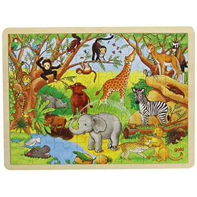 Goki Frame Jigsaw Puzzle Africa (48 Pieces): Toys & Games