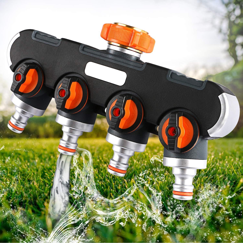 Xddias 4-Wege-Verteiler, 3/4″ Wasser Verteiler mit Absperrhahn Wasserhahn Adapter