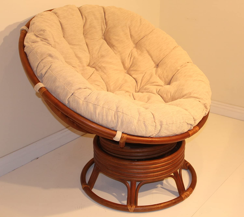 Amazon.com: Rattan Wicker Swivel Rocking Round Papasan Chair with ...