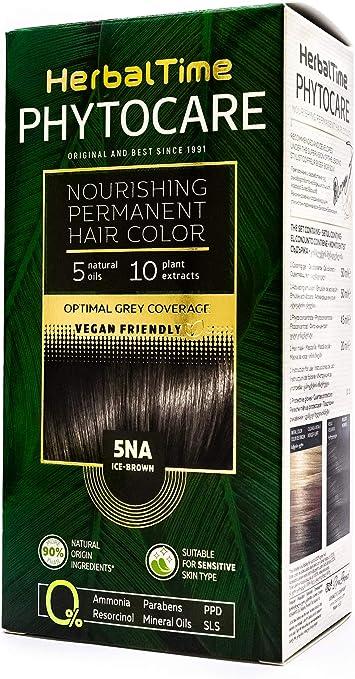 Phytocare Tinte permanente y nutritivo para cabello sin amoniaco, sin PPD, sin SLS, sin parabenos Color Marrón Frio 5NA