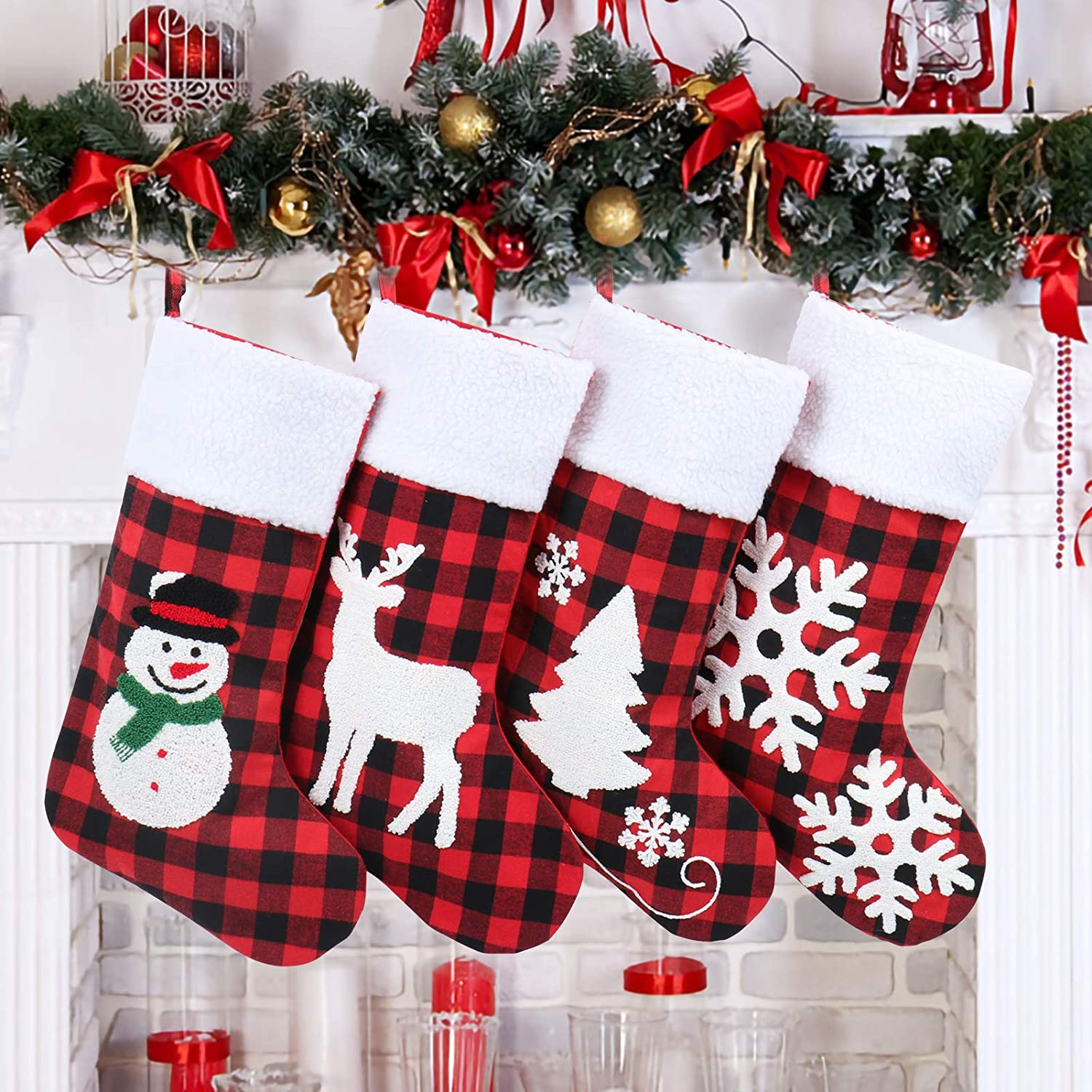 WINDUDU 4PCS Christmas Stocking 20 inch Large Buffalo Plaid Check with White Faux Plush Xmas Stockings for Fireplace Mantel Home Decor Tree Hanging Ornament (red)