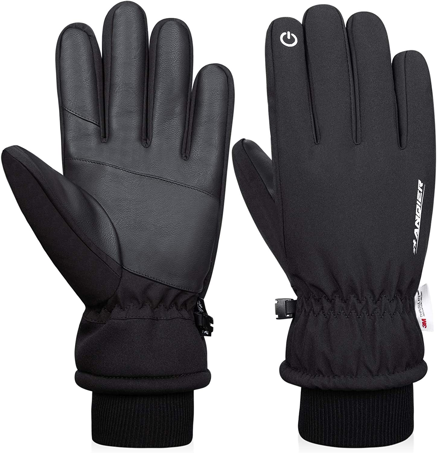 Anqier -30℉ Winter Gloves Touchscreen Gloves Thermal Gloves 3M Thinsulate Windproof Cold Weather Gloves for Running