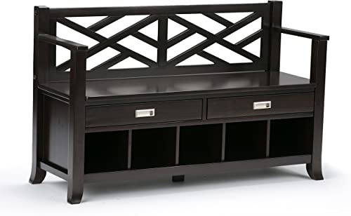 Simpli Home Sea SOLID WOOD 48 inch Wide Entryway Storage Bench with Two Drawers with Metal Drawer Glides and Five Shoe Storage Cubbies, Multifunctional, Contemporary, in Espresso Brown