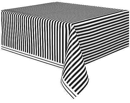 High Quality Striped Plastic Tablecloth, 108u0026quot; X 54u0026quot;, Black