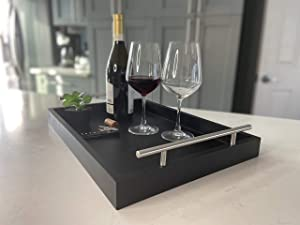 Trend Home & Kitchen Decorative Coffee Table Tray - bar Tray - Serving Tray with Metal Handles - Breakfast in Bed Tray - tv Remote Tray - 18 x 13 - Ottoman Tray - no Assembly Required