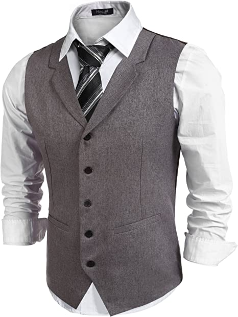 Hasuit Homme Gilet Costume Veste Slim Fit
