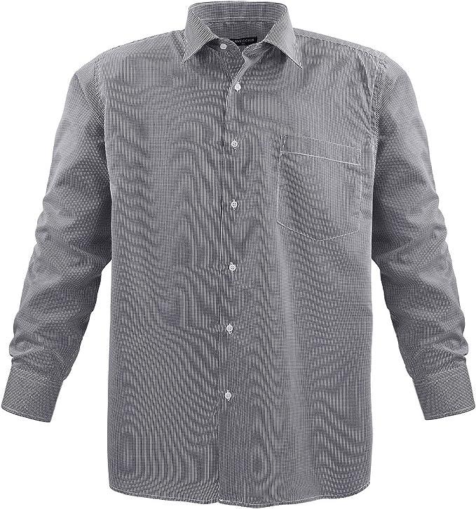 Camisa para hombre Lavecchia HLA17-07, diseño de cuadros, color azul