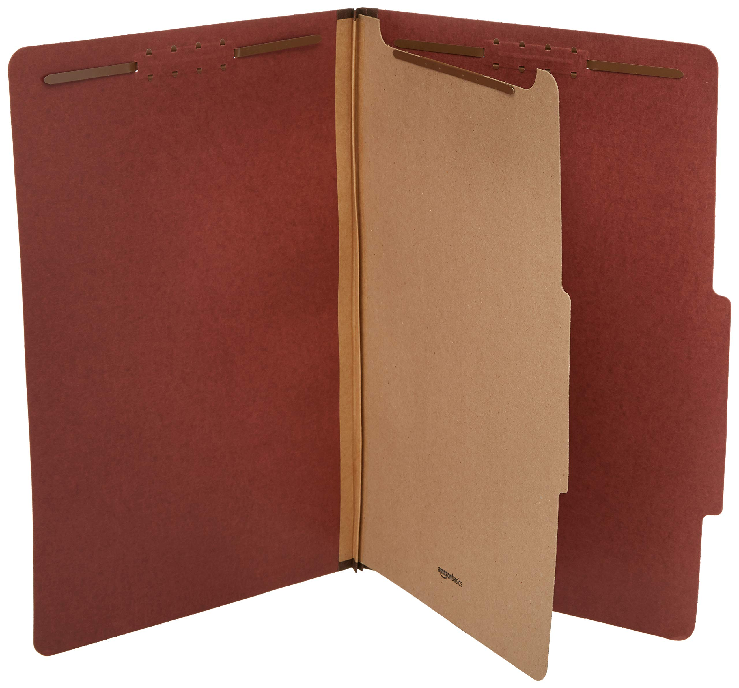AmazonBasics Pressboard Classification File Folder with Fasteners, 1 Divider, 1.75 Inch Expansion, Legal Size, Red (10 Pack) by AmazonBasics