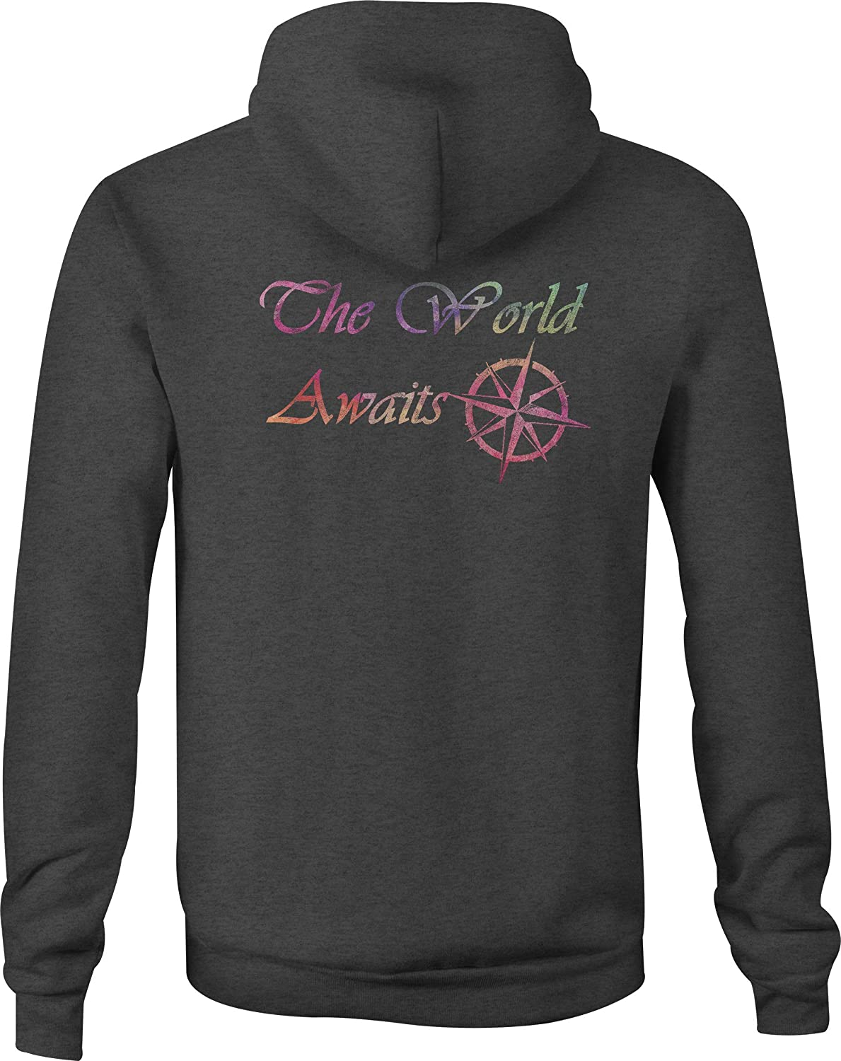 Motorcycle Zip Up Hoodie Watercolor The World Awaits Compass