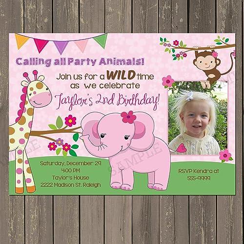Amazon Com Girl Jungle Birthday Invitation Pink Zoo Party