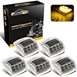 Partsam 5pcs 17 LED Clear Lens Amber Cab Marker Top Roof Running Truck Cab Light Waterproof Top Reflective Lights Compatible with Peterbilt/Kenworth/Freightliner/Mack/Volvo