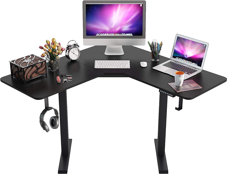 L-Shaped Standing Desk,Height Adjustable Electric Corner Desk,48 Inches Home Office Table with Splice Board,Dual Motor Home Office Desks Black Frame (Black)