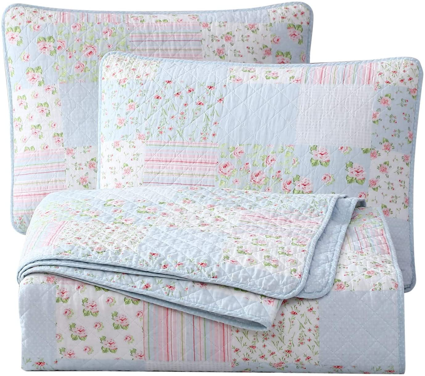 Chezmoi Collection Holly 3-Piece Printed Patchwork Cotton Quilt Set - Flower Floral Candy Stripe Polka Dots - Stone Washed Lightweight Bedspread, Queen Size