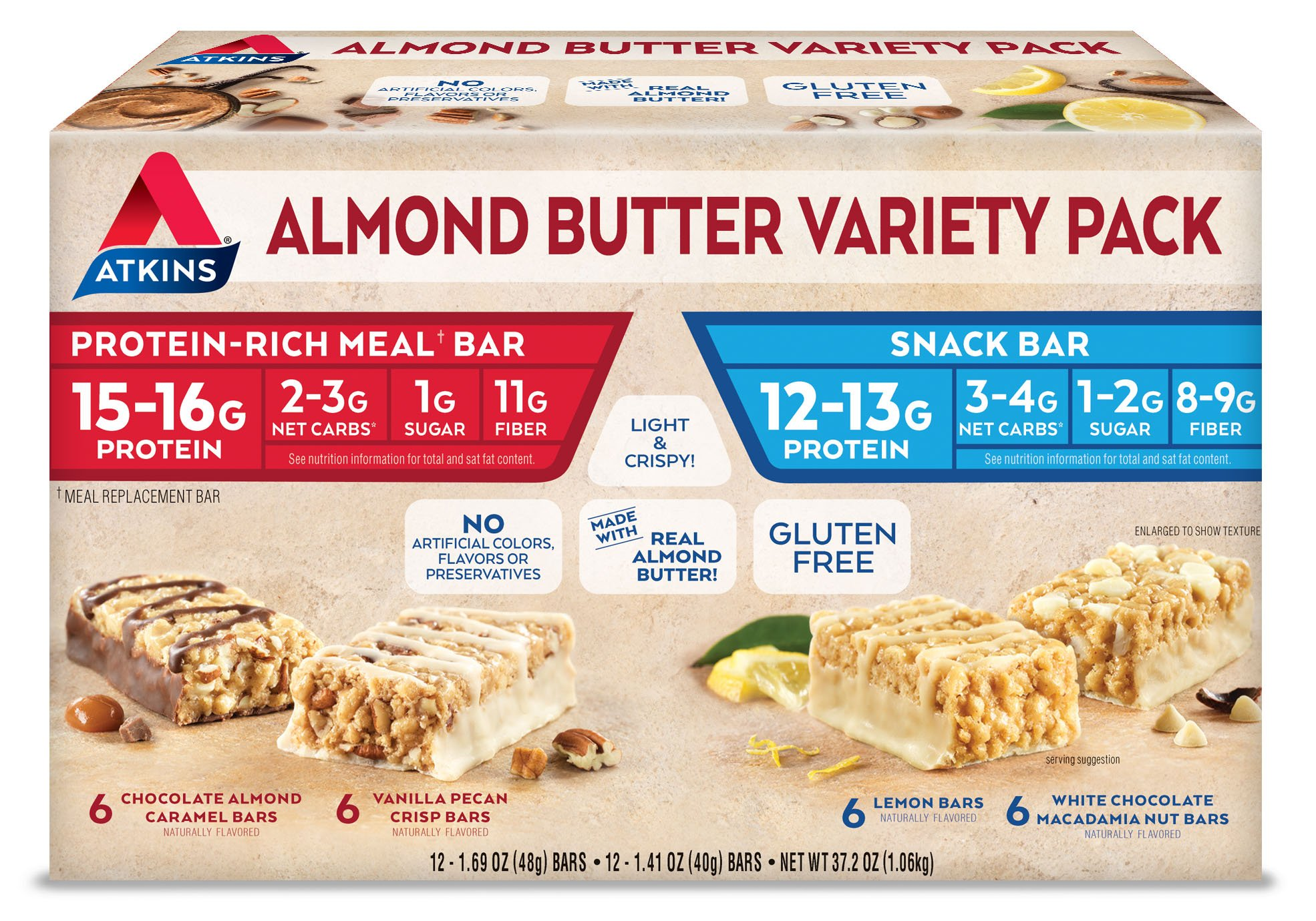 Atkins Almond Butter Meal and Snack Bar Variety Pack. Light and Crispy Protein & Fiber Bars Made with Real Almond Butter (4 Flavors, 24 Bars). by Atkins