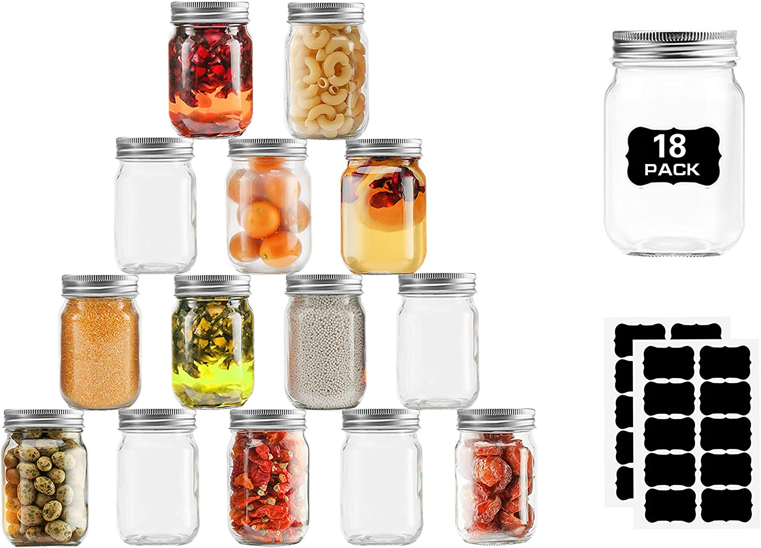 Glass Mason Jars Regular Mouth, 12 Ounce Glass Jars with Silver Metal Lids for Meal Prep, Food Storage, Canning, Drinking, for Overnight Oats, Jelly, Dry Food, Salads, Yogurt (18 Pack) With 20 Labels