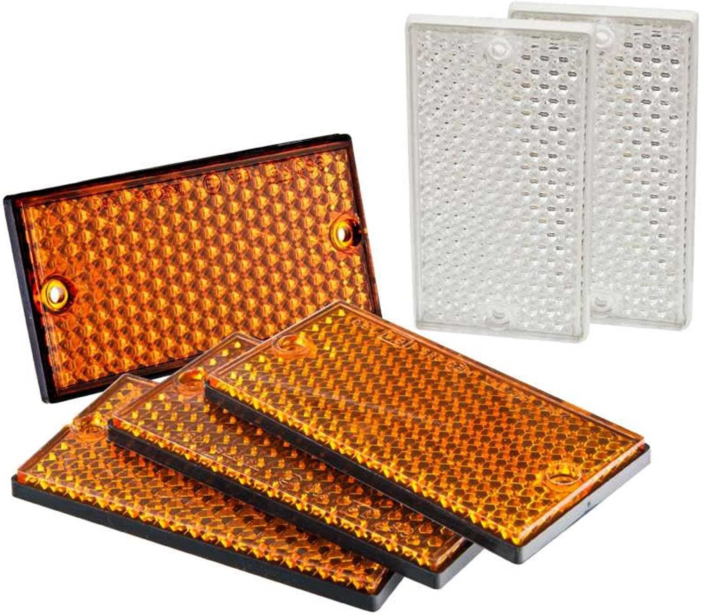 Orange MAXTER 7580 07580-Catadioptre Rectangulaire-105 x 54 mm-Blanc-6 Pi/èces