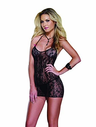 04629713c4c Amazon.com  Dreamgirl Women s Tempting Tease Stretch Lace Open Back Chemise  And G-String
