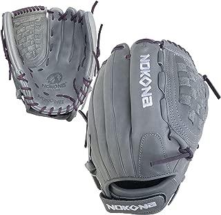 product image for Nokona AmericanKip Gray Closed Web 12.5 Inch A-V1250C-GR PU Fastpitch Softball Glove (Purple Lacing)